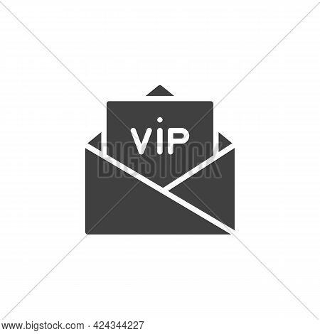 Vip Invitation Vector Icon. Filled Flat Sign For Mobile Concept And Web Design. Envelope With Vip Ca