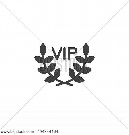 Vip, Premium Vector Icon. Filled Flat Sign For Mobile Concept And Web Design. Vip Laurel Wreath Glyp