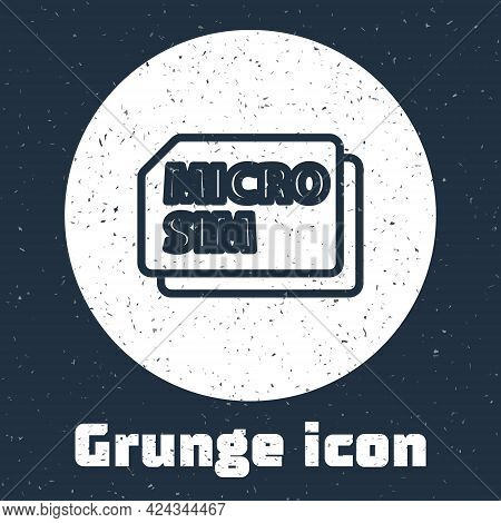 Grunge Line Micro Sim Card Icon Isolated On Grey Background. Mobile And Wireless Communication Techn