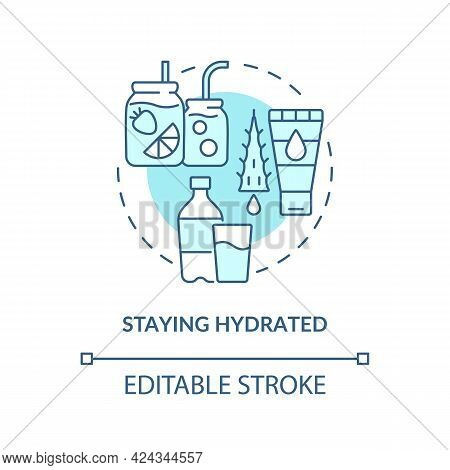 Staying Hydrated Concept Icon. Heatstroke Prevention Abstract Idea Thin Line Illustration. Making Fr