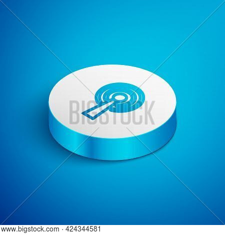 Isometric Line Antenna Icon Isolated On Blue Background. Radio Antenna Wireless. Technology And Netw