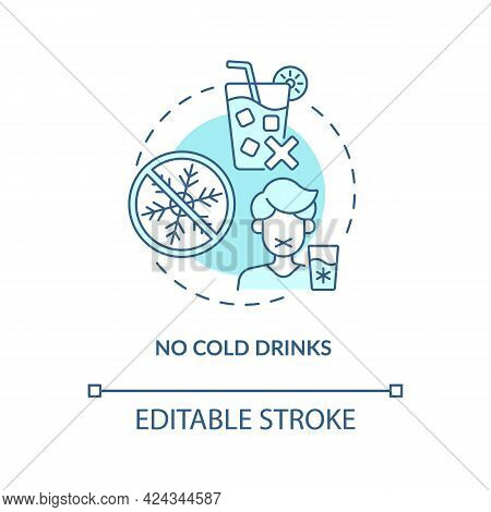 No Cold Drinks Concept Icon. Heatstroke Prevention Abstract Idea Thin Line Illustration. Stomach Cra