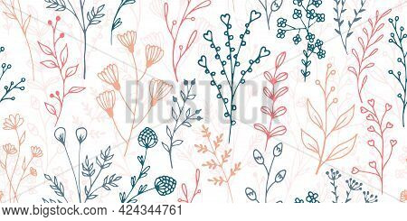 Field Flower Sprigs Natural Vector Seamless Pattern. Creative Floral Textile Print. Meadow Plants Le