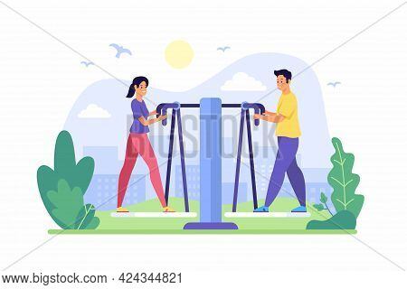 Exercise Walkers In Park. Guy With Girl Engaged On Fitness Equipment Outdoors. Active Summer Sports