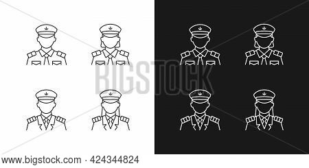 Cruise Crew Linear Icons Set For Dark And Light Mode. Providing Service For Passengers. Helping Visi