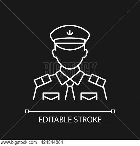 Male Chief Officer White Linear Icon For Dark Theme. Controlling Crew. Cruise Travel For Visitors. T