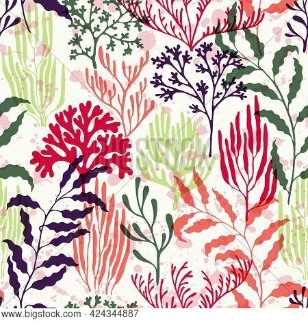 Coral Reef Seamless Pattern., Caribbean Staghorn And Pillar Corals Diversity.