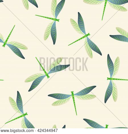 Dragonfly Flat Seamless Pattern. Spring Dress Textile Print With Damselfly Insects. Flying Water