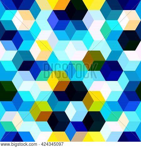 Hexagon Grid Seamless Vector Background. Multiple Polygons Six Corners Geometric Design. Trendy Colo