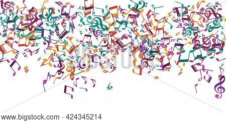 Music Notes Flying Vector Design. Song Notation Signs Explosion. Party Music Wallpaper. Creative Not