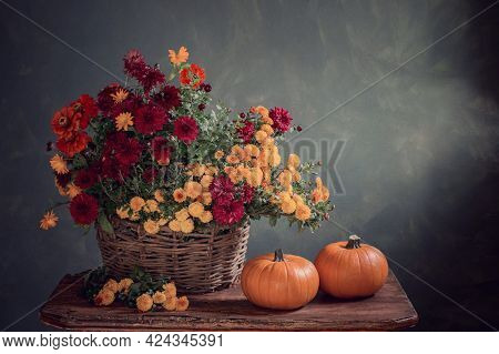 Still Life With Chrysanthemums In Basket And Pumpkins On Wooden Shelf
