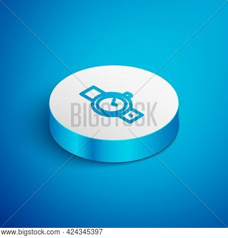 Isometric Line Wrist Watch Icon Isolated On Blue Background. Wristwatch Icon. White Circle Button. V