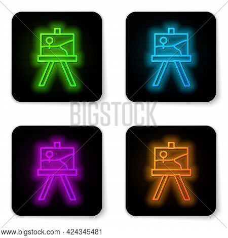 Glowing Neon Line Wood Easel Or Painting Art Boards Icon Isolated On White Background. Black Square