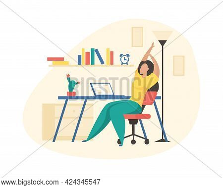 Workout Body In Workplace. Woman On Chair Stretches Back. Muscles Stiff From Working On Laptop For L