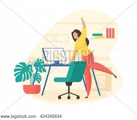 Fitness Break In Office. Female Character Is Doing Stretching Holding On Computer Desk. Active Minut