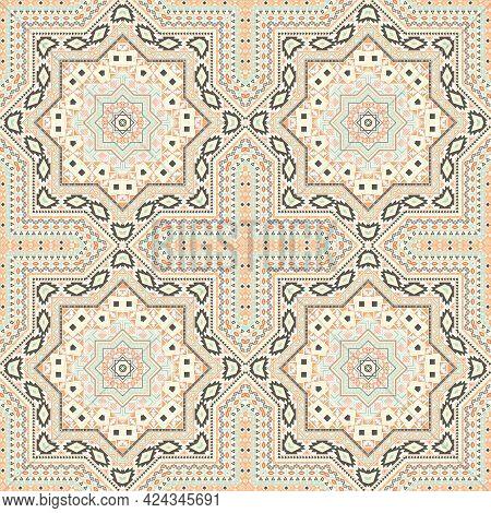 Delicate Victorian Majolica Tile Seamless Ornament. Ethnic Structure Vector Swatch. Carpet Print Des