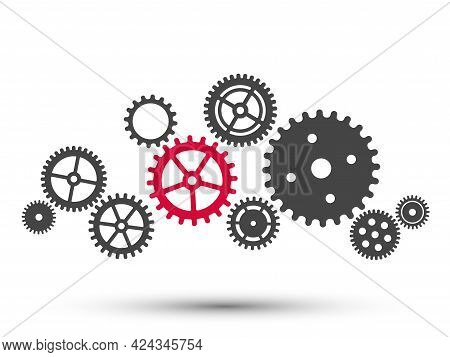Gear Wheel Mechanism Background. Machine Cog Technology. Teamwork Concept Vector Illustration. Key P
