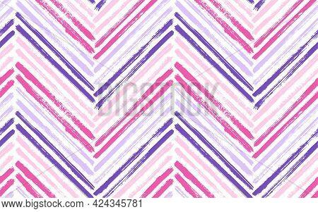 Retro Zigzag Fashion Print Vector Seamless Pattern. Paint Brush Stroke Geometric Stripes. Hand Drawn
