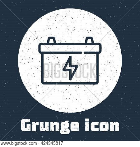 Grunge Line Car Battery Icon Isolated On Grey Background. Accumulator Battery Energy Power And Elect
