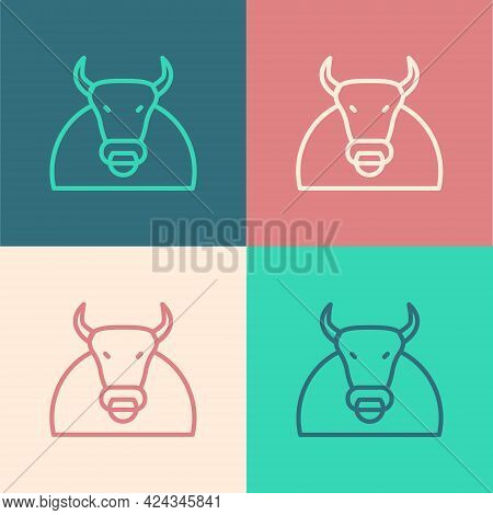 Pop Art Line Bull Icon Isolated On Color Background. Spanish Fighting Bull. Vector