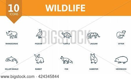 Wildlife Icon Set. Contains Editable Icons Wild Animals Theme Such As Rhinoceros, Turtle, Otter And