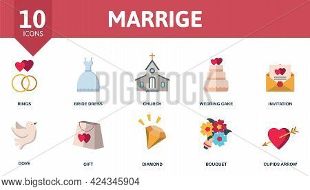 Marriage Icon Set. Contains Editable Icons Wedding Theme Such As Rings, Church, Invitation And More.