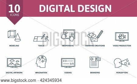 Digital Design Icon Set. Contains Editable Icons Web Design Theme Such As Modeling, Responsive, Vide