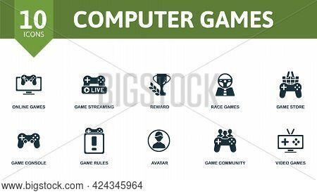Computer Games Icon Set. Contains Editable Icons Video Games Theme Such As Online Games, Reward, Gam
