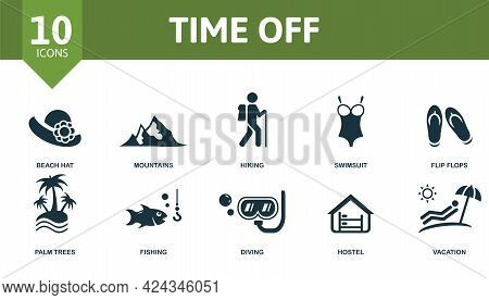 Time Off Icon Set. Contains Editable Icons Vacation Theme Such As Beach Hat, Hiking, Flip Flops And