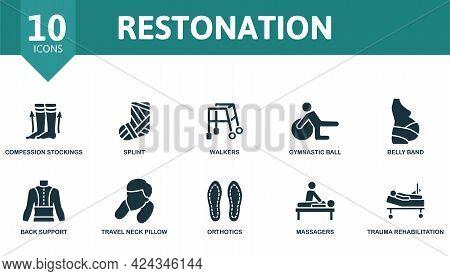 Restonation Icon Set. Contains Editable Icons Trauma Rehabilitation Theme Such As Compression Stocki