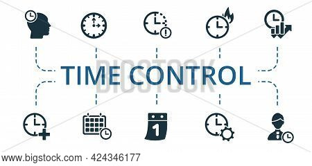 Time Control Icon Set. Contains Editable Icons Time Management Theme Such As Clock, Determination Ti