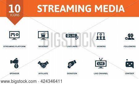 Streaming Media Icon Set. Contains Editable Icons Streaming Theme Such As Steaming Platform, Live Li