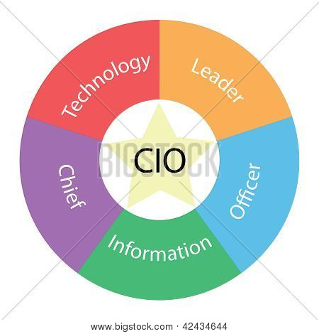 A CIO circular concept with great terms around the center including technology and leader with a yellow star in the middle poster