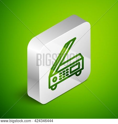 Isometric Line Scanner Icon Isolated On Green Background. Scan Document, Paper Copy, Print Office Sc