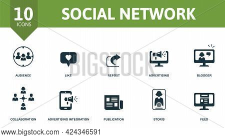 Social Network Icon Set. Contains Editable Icons Social Media Theme Such As Audience, Repost, Blogge