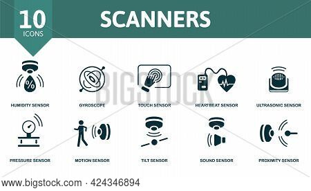 Scanners Icon Set. Contains Editable Icons Sensor Theme Such As Humidity Sensor, Touch Sensor, Ultra