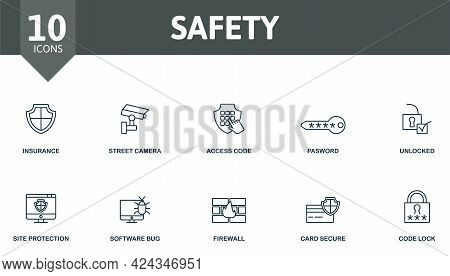 Safety Icon Set. Contains Editable Icons Security Theme Such As Insurance, Access Code, Unlocked And