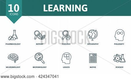 Learning Icon Set. Contains Editable Icons Science Theme Such As Pharmacology, Zoology, Philosofy An