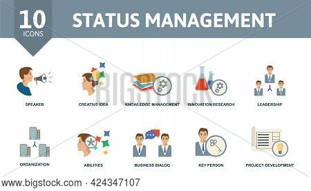 Status Management Icon Set. Contains Editable Icons Reputation Management Theme Such As Speaker, Kno