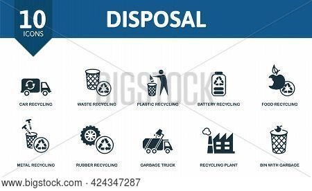 Disposal Icon Set. Contains Editable Icons Recycling Theme Such As Car Recycling, Plastic Recycling,