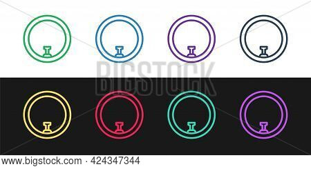 Set Line Bicycle Wheel Icon Isolated On Black And White Background. Bike Race. Wheel Tire Air. Sport