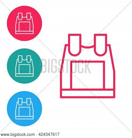 Red Line Bulletproof Vest For Protection From Bullets Icon Isolated On White Background. Body Armor