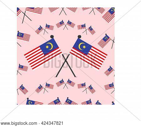 Vector Illustration Of Malaysia Pattern Flags And Pink Colors Background.