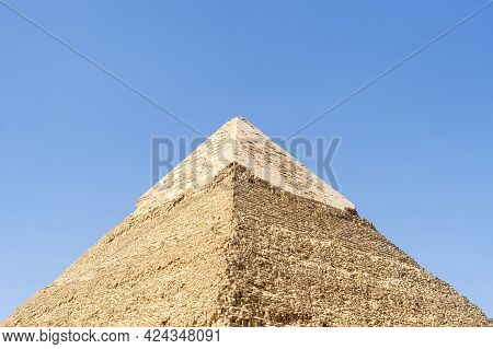 The High Pyramid Of Chephren On The Background Of A Blue Sky With Clouds, Giza, Cairo, Egypt. Second
