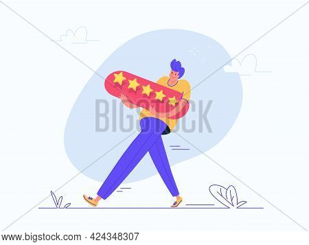 Young Man Carrying A Heavy 5 Stars Consumer Review. Flat Vector Illustration Of Young Man Carrying I