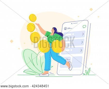 Young Woman Carrying Five Golden Coins From App And Enjoying Profits As An Investor. Flat Vector Ill