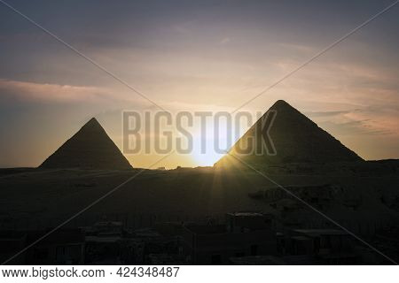 Archaeological Complex Of The Great Egyptian Pyramids Is Located On Giza Plateau. Pyramids Of Chephr