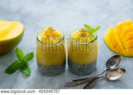 Chia Pudding With Mango Puree And Fresh Mango Fruit. Homemade Healthy Food