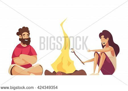 Two Happy Cartoon People Frying Marshmallow On Campfire Vector Illustration