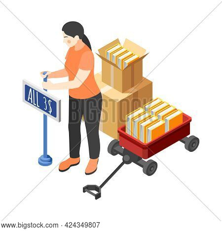 Renovation Yard Sale Isometric Icon With Woman Selling Old Books 3d Vector Illustration